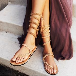 Free People HMH braided wrap sandals!